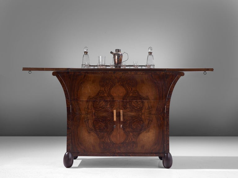 Mid-20th Century Italian Dry Bar in Burl Wood by Enrico Premoli For Sale