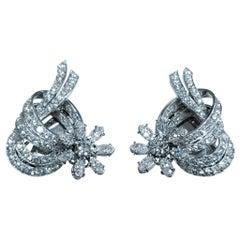 Italian Dutchess Heirloom 1950 Antique Vintage 9 Carat Diamond Platinum Earrings