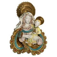 Italian E. Pattarino Large Madonna and Baby Jesus Terra-cotta Wall Sculpture