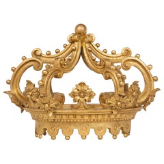Italian Early 18th Century Louis XIV Giltwood Crown-Shaped Bed Canape