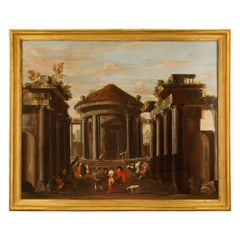 Italian Early 18th Century Roman Oil on Canvas, of an Architectural Theme