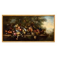Italian Early 18th Century Still Life Oil on Canvas Roman Painting