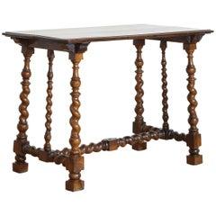 Italian Early 18th Century Turned Walnut Side Table with Block Feet