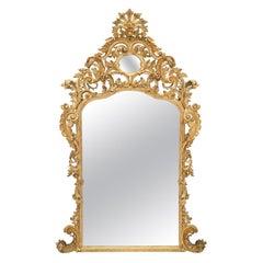 Italian Early 19th Century Baroque Giltwood Mirror