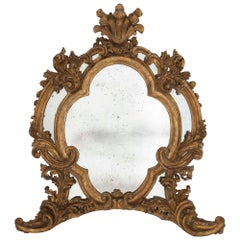Italian Early 19th Century Baroque St. Double Framed Mecca Mirror