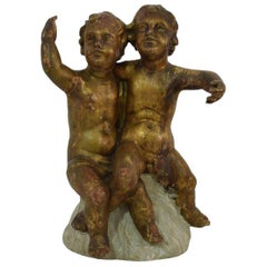 Italian Early 19th Century Baroque Style Carved Couple of Angels/ Putti