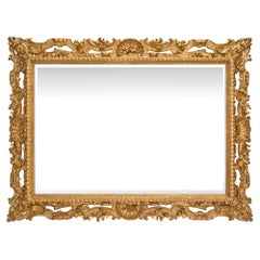 Italian Early 19th Century Baroque Style Giltwood Carved Mirror