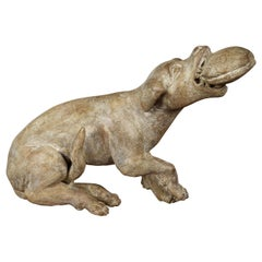 Italian Early 19th Century Carved Wooden Dog Playing with a Toy