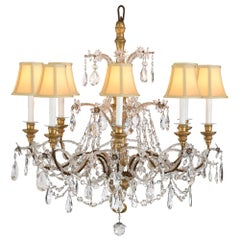 Italian Early 19th Century Giltwood and Glass Eight-Arm Chandelier