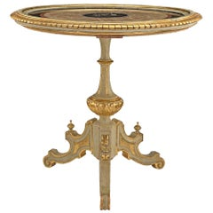 Italian Early 19th Century Giltwood, Onyx and Marble Florentine Side Table