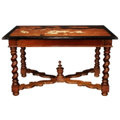 Italian Early 19th Century Louis XIV St. Walnut and Fruitwood Center Table