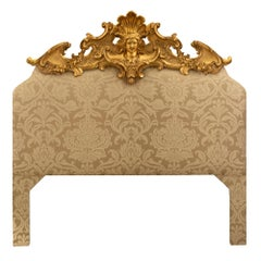 Italian Early 19th Century Louis XV Style Upholstered and Giltwood Headboard