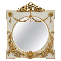 Italian Early 19th Century Louis XVI Style off White and Gilt Square Mirror