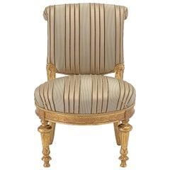 Italian Early 19th Century Louis XVI Style Giltwood Slipper Chair