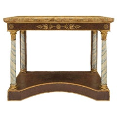 Italian Early 19th Century Neo-Classical Giltwood and Scagliola Console
