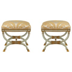 Italian Early 19th Century Neoclassical St. Patinated and Gilt Benches
