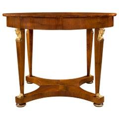 Italian Early 19th Century Neoclassical St. Walnut Circular Center Table