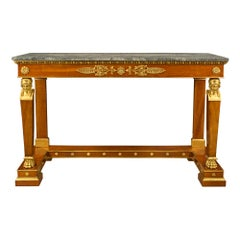 Italian Early 19th Century Neoclassical Style Cherry and Giltwood Console