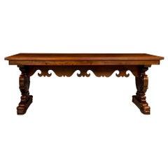 Italian Early 19th Century Solid Walnut Dining Table