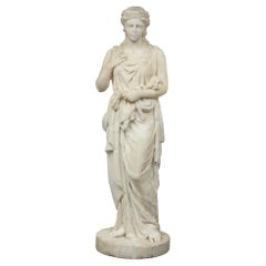 Italian Early 19th Century Solid White Carrara Marble Statue of a Young Maiden
