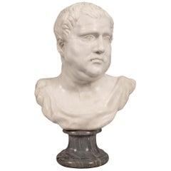Italian Early 19th Century White Carrara Marble Bust Of A Roman Emperor
