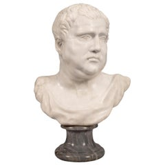 Italian Early 19th Century White Carrara Marble Bust of a Roman Emperor