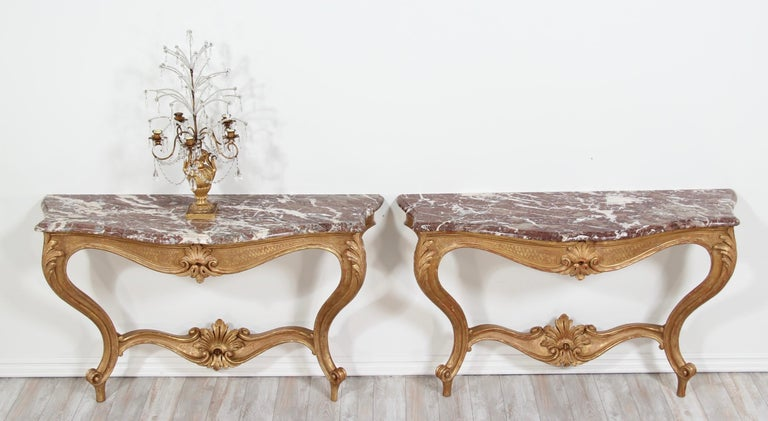 Wood Italian Early 20th Century Carved Giltwood Console Tables For Sale