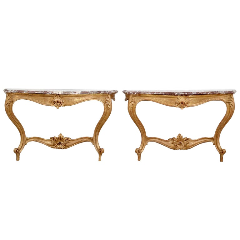 Italian Early 20th Century Carved Giltwood Console Tables For Sale