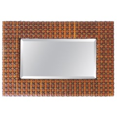 Italian Early 20th Century Colored Wicker Wall Mirror