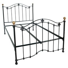 Italian Early 20th Century Iron and Cast Iron Enamelled Bed, Golden Brass Parts
