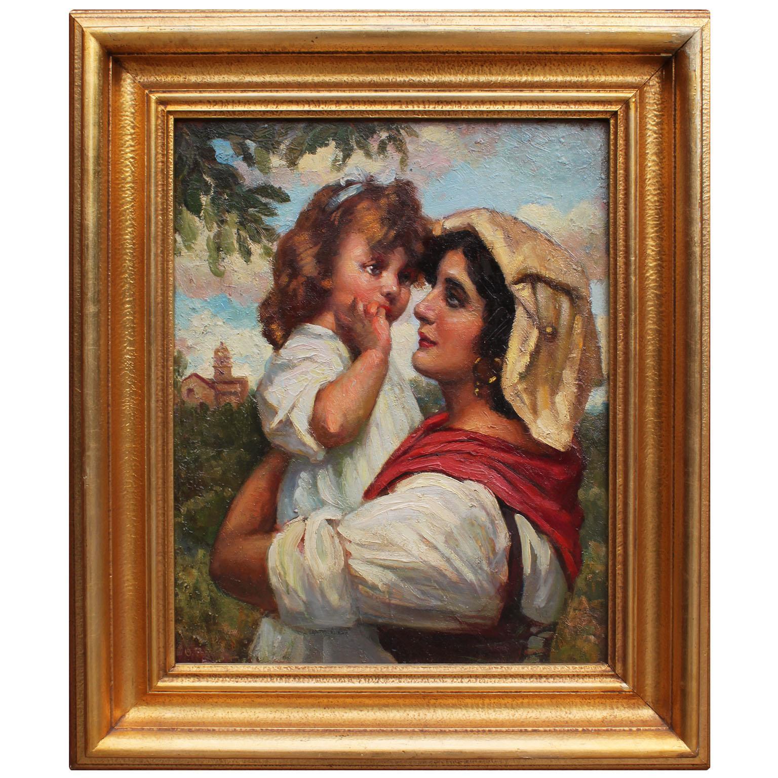 "Italian Early 20th Century Oil on Panel ""Mother and Daughter"" Ottorino Pugnaloni"