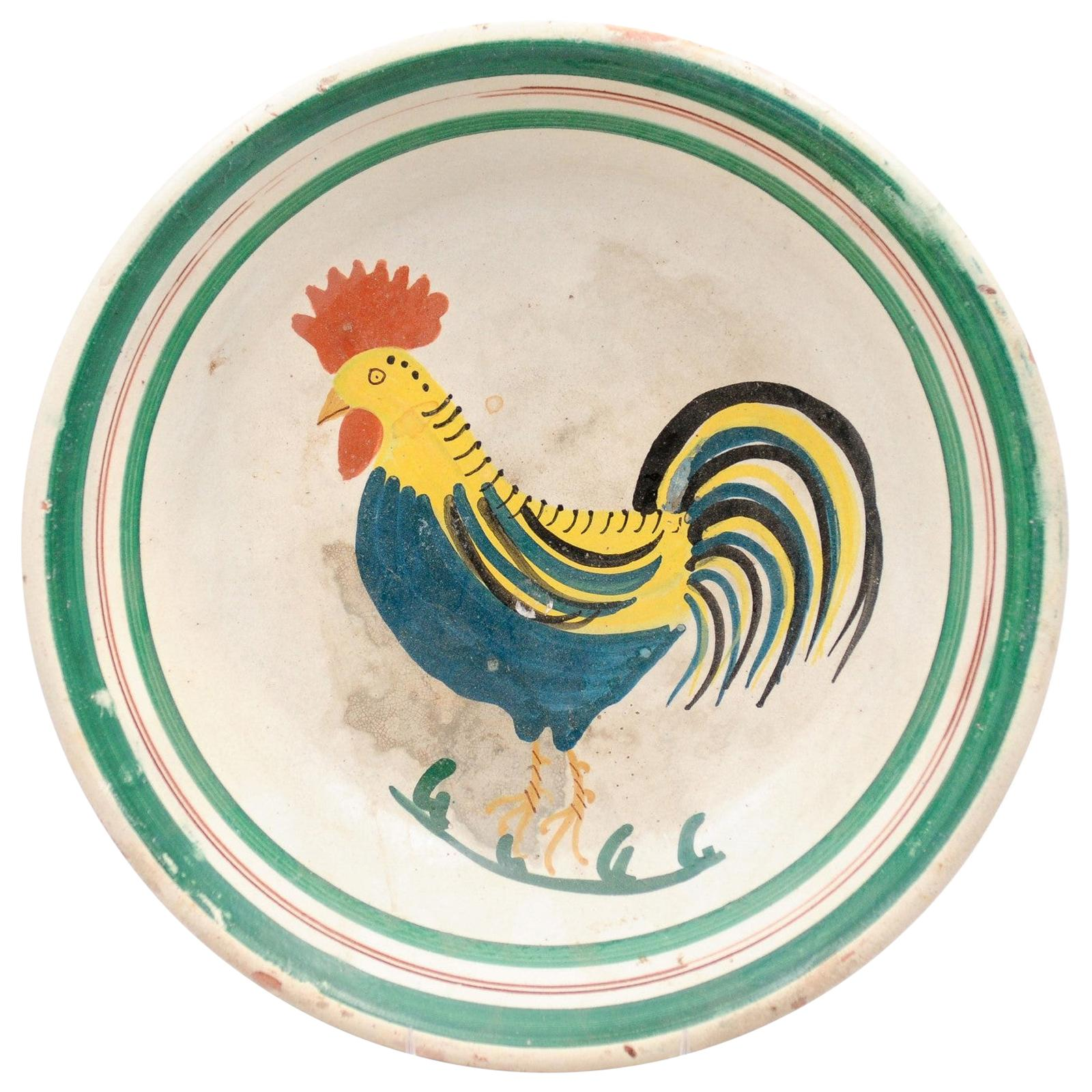 Italian Early 20th Century Pottery Bowl with Rooster Motif and Green Border
