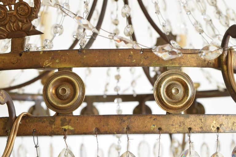 Italian Early Neoclassic Gilt Iron, Brass, & Glass 8-Light Chandelier ca 1780-17 For Sale 5