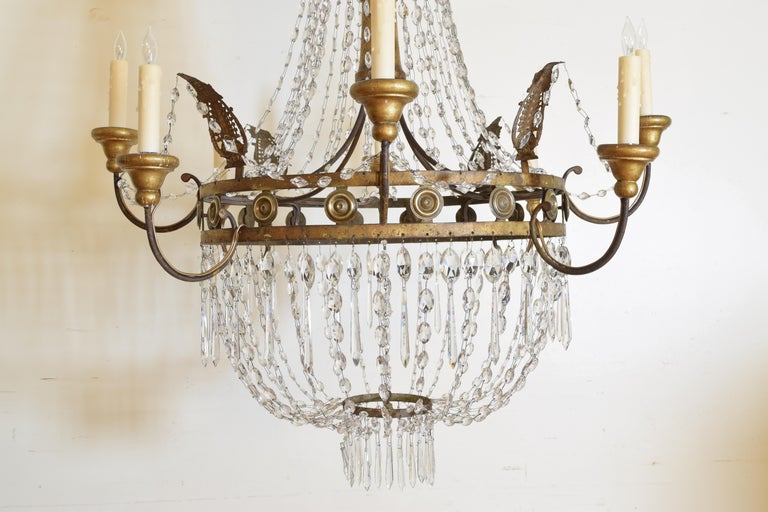 Italian Early Neoclassic Gilt Iron, Brass, & Glass 8-Light Chandelier ca 1780-17 For Sale 8
