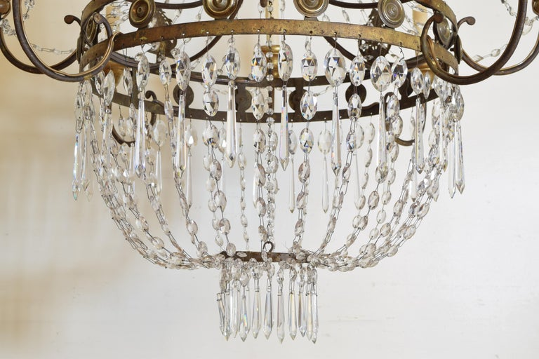 Italian Early Neoclassic Gilt Iron, Brass, & Glass 8-Light Chandelier ca 1780-17 For Sale 9