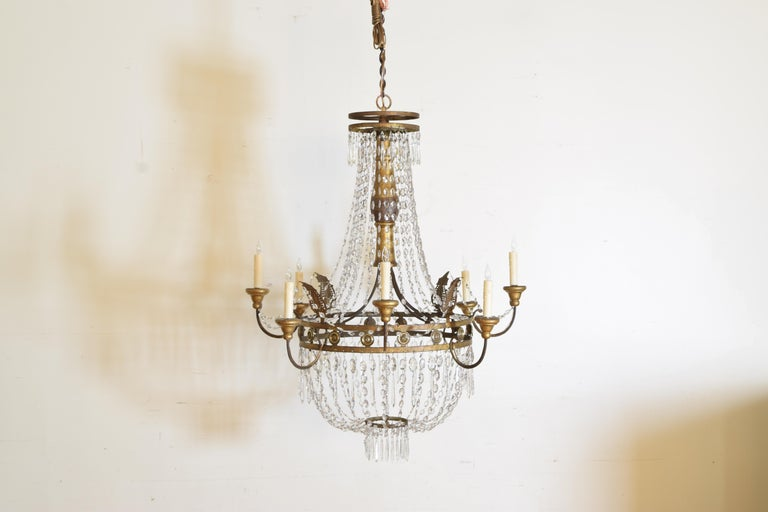 Neoclassical Italian Early Neoclassic Gilt Iron, Brass, & Glass 8-Light Chandelier ca 1780-17 For Sale