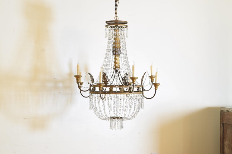Italian Early Neoclassic Gilt Iron, Brass, & Glass 8-Light Chandelier ca 1780-17 In Good Condition For Sale In Atlanta, GA