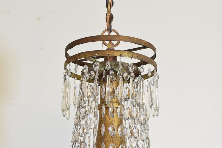18th Century Italian Early Neoclassic Gilt Iron, Brass, & Glass 8-Light Chandelier ca 1780-17 For Sale