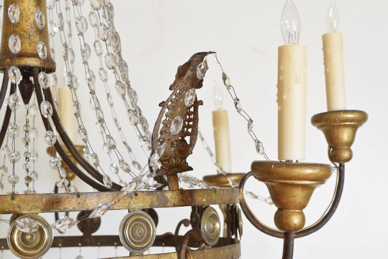 Italian Early Neoclassic Gilt Iron, Brass, & Glass 8-Light Chandelier ca 1780-17 For Sale 3