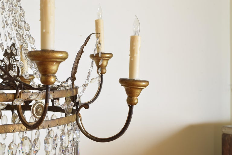 Italian Early Neoclassic Gilt Iron, Brass, & Glass 8-Light Chandelier ca 1780-17 For Sale 4