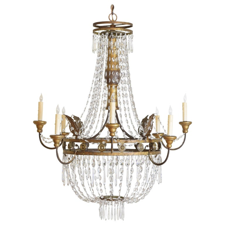 Italian Early Neoclassic Gilt Iron, Brass, & Glass 8-Light Chandelier ca 1780-17 For Sale