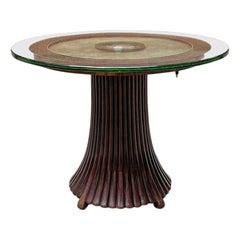 Italian Early Twentieth Century Art Deco Coffee Table with Glass Top, 1930s
