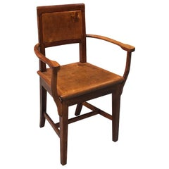 Italian Early 20th Century Walnut Chair with Armrests, 1900s