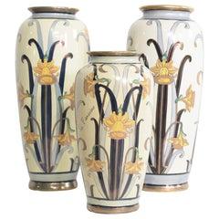 Italian Earthenware Art Nouveau Vases by G. Fieravino