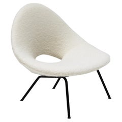 Italian Easy Chair, 1950s, Upholstered in Fluffy Mohair and Alpaca Pierre Frey