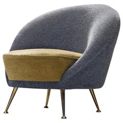 Italian Easy Chair in Two-Tone Upholstery