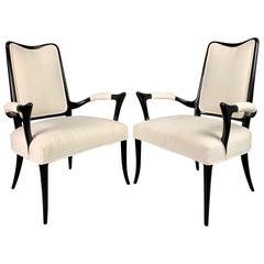 Italian Ebonized Sculptural Pair of Armchairs in the Style of Osvaldo Borsani