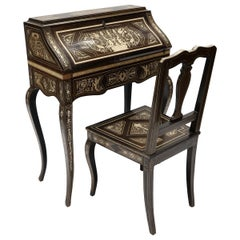 Italian Ebony and Bone Inlay Marquetry Secretaire Desk with Chair