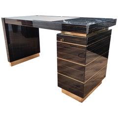 Italian Ebony Wood and Brass Mid-Century Modern Regency Desk Writing Table