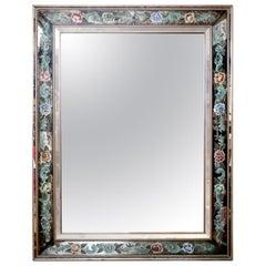 Italian Églomisé Wall Mirror with Handpainted Floral Frame